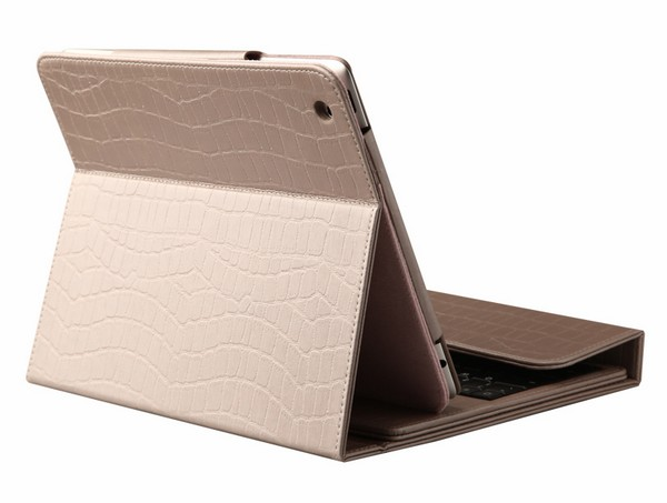 iPad 2 3 Case with Wireless English Keyboard Champagne