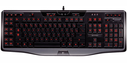 Logitech G110 Wired Backlit Gaming USB Keyboard 920-002232 (Blac